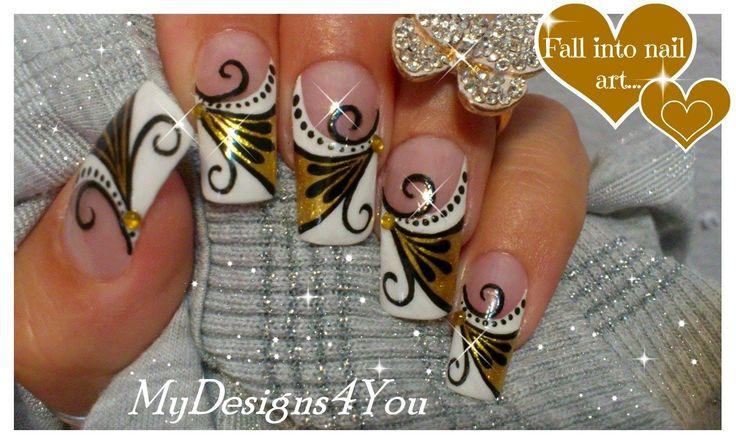 Gold Nail Art Tutorial | Design for Long Diva Nails ♥ Золотой Дизайн Ногтей