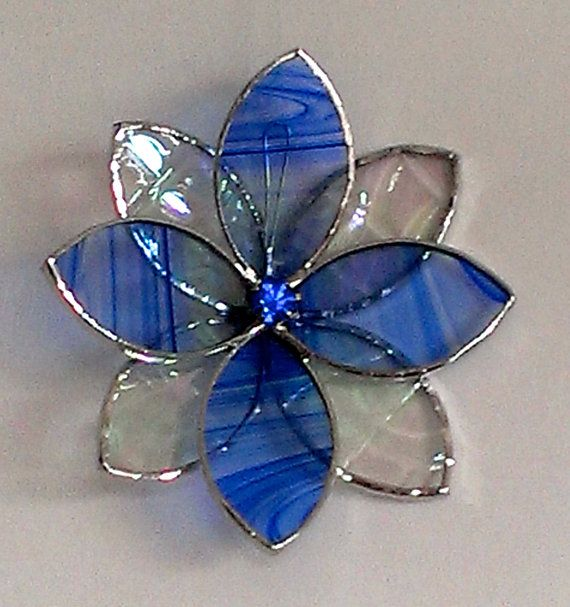 Stained Glass Suncatcher, 3D Flower for Patio, Window or Garden, Cobalt Blue Rhinestone Flower Centre, Home Decor, Flower Wall Ornament Art