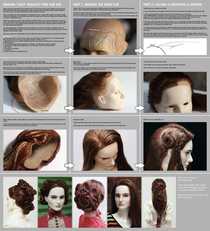 best wig tut EVER! Making lace realistic wig for BJD by scargeear.deviantart.com on @deviantART