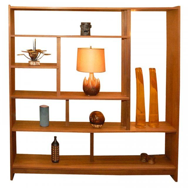 Solid Teak Danish Bookshelf Room Divider At 1stdibs