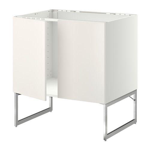 METOD Base cabinet for sink + 2 doors - Veddinge white  - IKEA