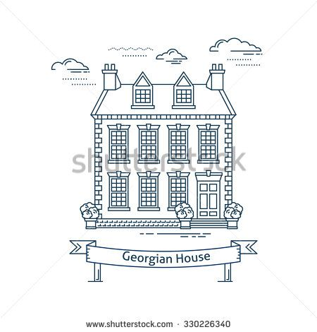 Real estate market concept flat line vector architecture design. Outlined stroke icon. Georgian style house. Property investment. For poster, flyer, web, banner, header, hero image, motion design