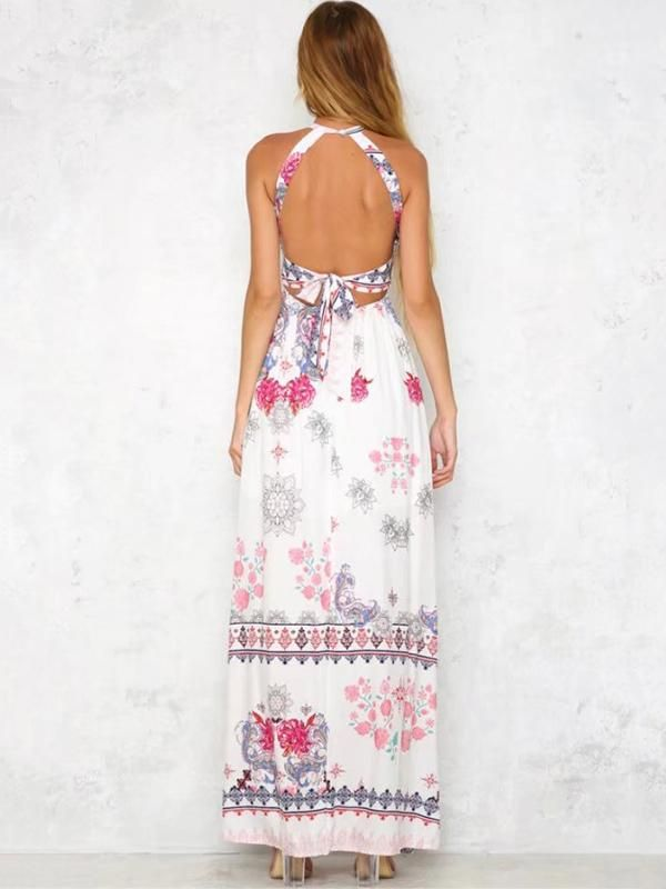 Red Floral Print Halterneck Sleeveless Maxi Dress