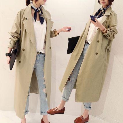 トレンチコート オフィスファッション★ゆるフィットトレンチロングコート 949