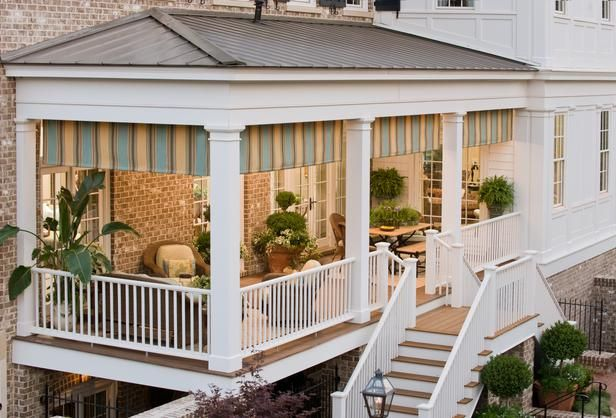 Porches should connect your interior to the exterior with ease, and provide additional living space. This functional floor plan features a place to dine and a space to visit. Photo courtesy of Sunbrella.