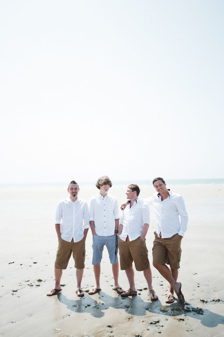 groomsmen on beach in shorts. nik & chris | an eco-friendly, handmade coastal welsh wedding » Home