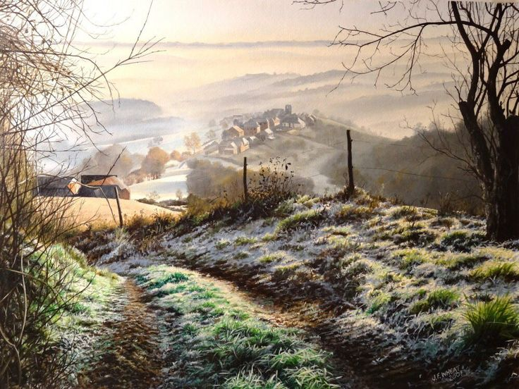 helen warlow (@HWarlow) | Twitter - 26Nov2017 - This is wonderful,  by lifetime world traveller and artist  Julian Wheat. 'Frost over St Cyprien France ' came 5th overall in a Seasons Art Exhibition