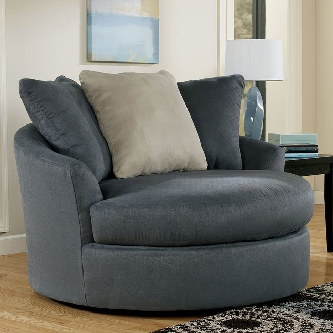 Signature Design By Ashley Mindy Indigo Oversized Swivel Accent Chair