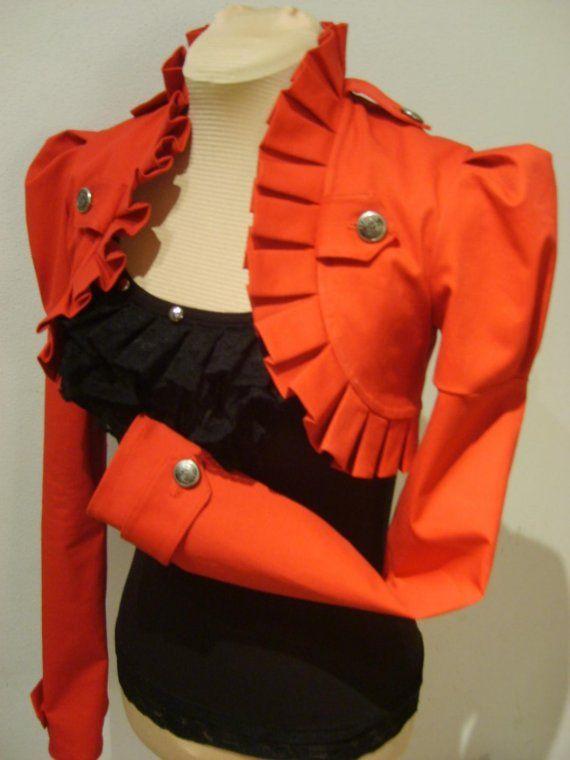 Red Victorian/military bolero jacket by blackmirrordesign on Etsy, $175.00