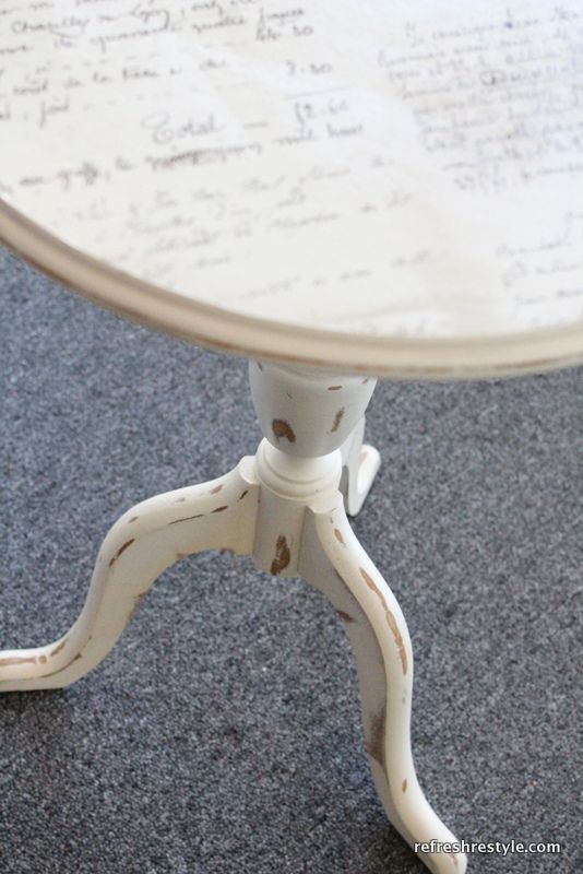 modge podge tabletop--- for side table in guest room