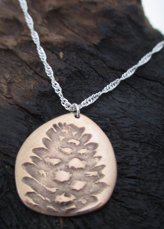 Pine Cone Pendant Bronze Precious Metal Clay by KemeJewellery