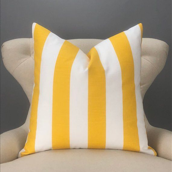 Yellow Pillow Cover Many Sizes Stripe Pattern Yellow White