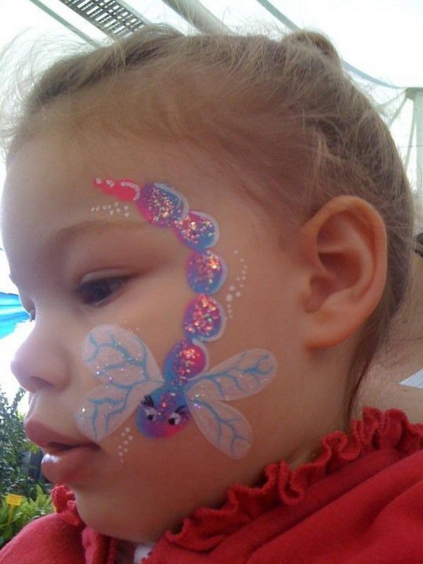 DIY Dragonfly Face Paint, Cool Face Painting Ideas For Kids, http://hative.com/cool-face-painting-ideas-for-kids/,