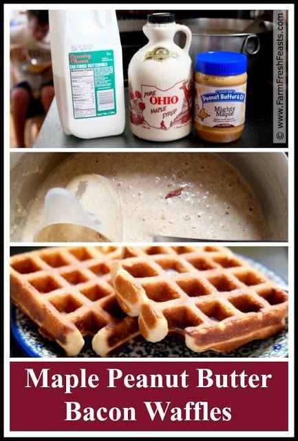 Maple Peanut Butter Bacon Waffles--a flavorful breakfast treat.