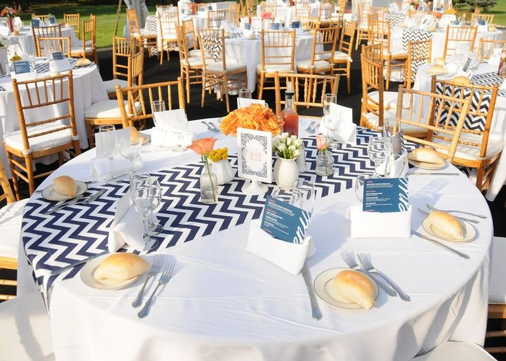 navy striped table runner with navy napkins for wedding - Google Search