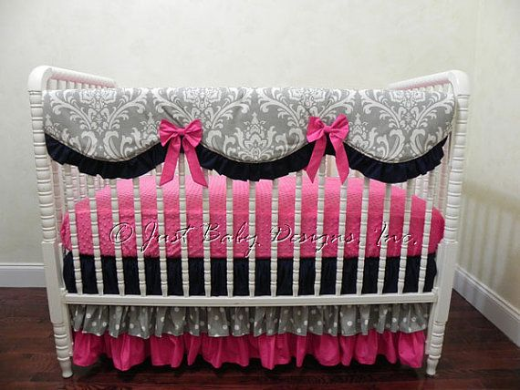 bumperless baby bedding set stephanie girl baby bedding scalloped rail cover navy baby