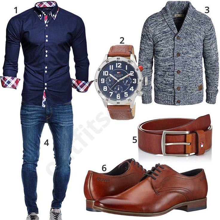 Schicker Herren-Look mit Tommy Hilfiger Chronograph (m0481) #outfit #style #fashion #menswear #mensfashion #inspiration #shirt #cloth #clothing #männermode #herrenmode #shirt #mode #styling #sneaker #menstyle #hemd #strickjacke #ledergürtel #chronograph #tommyhilfiger