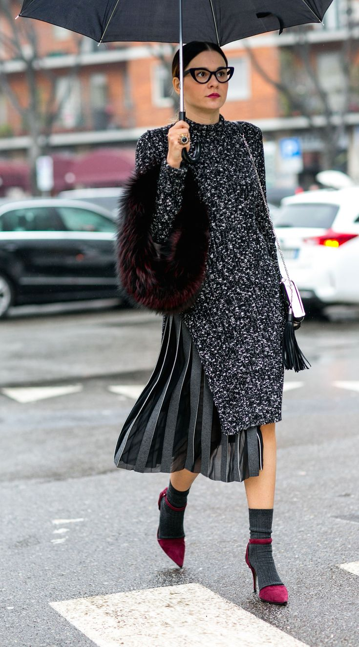 Chic under the rain. Milan Fashion Week, Fall 2015.