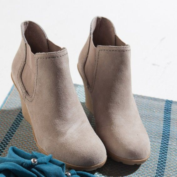 White Mountain Shoes Integra Light Taupe Bootie Slip on wedge bootie with elastic panels and stitching detail. Embrace your unique sense of style in these chunky platform leather ankle boots.  http://www.whitemountainshoes.com/white-mountain-shoes-new-arrivals/white-mountain-shoes-integra-light-taupe-bootie.html