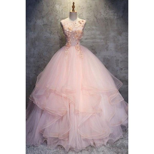 Pink Ball Gown Floor Length Sleeveless Layers Tulle Ruffles Floral... (€135) ❤ liked on Polyvore featuring dresses, gowns, floral prom dresses, floor length gowns, pink prom dresses, floral prom gowns and pink ball gown