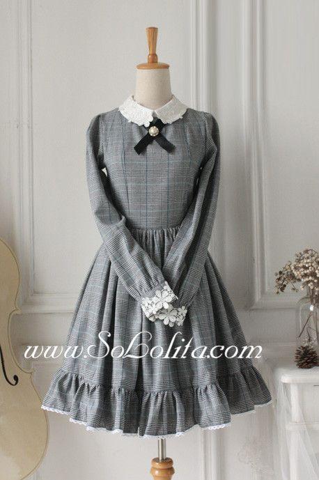 Sweet Grey Flouncing Long Sleeves Classic Lolita Dress