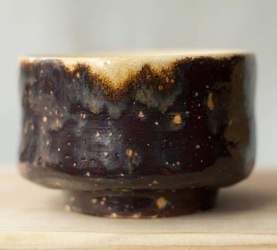 Ceramic chawan tea cup handmade unique brown transparent