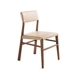 This chair is available in wood, fabric, leather or eco-leather. The backrest is also available in braided hemp color rope. The chair has clean design..