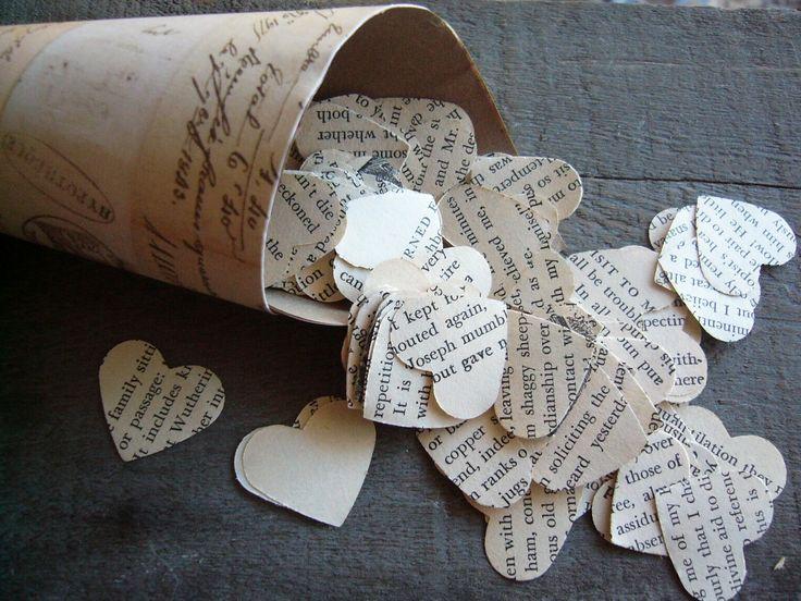 magazine paper hearts confetti