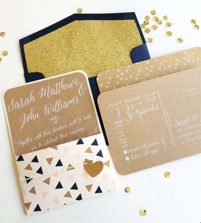 """Mia"" Geometric Wedding Invitation Suite (White Ink)"
