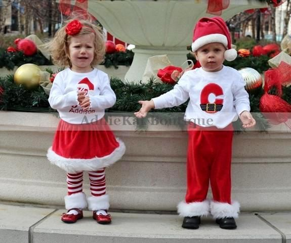 Mr. and Mrs. Claus Matching - Coordinating Brother and Sister Faux Fur Santa Outfits - Twins. $105.00, via Etsy.