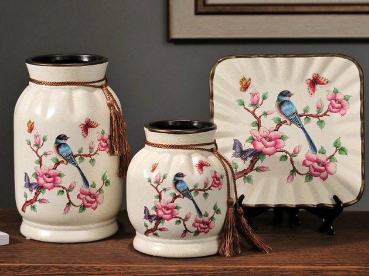 Spring Collection- 3 Piece Ceramic Vase Set - Bird Meadow – Samiksha's