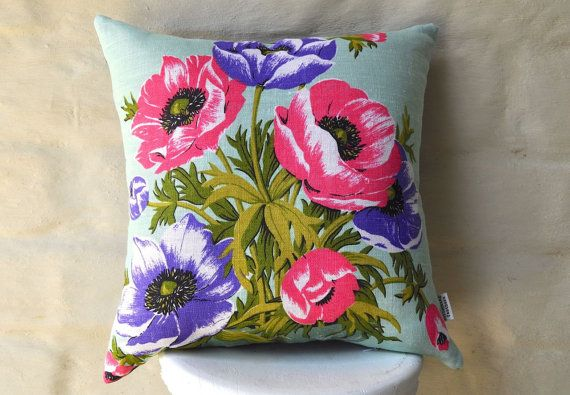 Bright poppies to liven up any room! Hot pink and purple poppies on a fresh mint background. Made with a vintage Irish linen tea towel, new