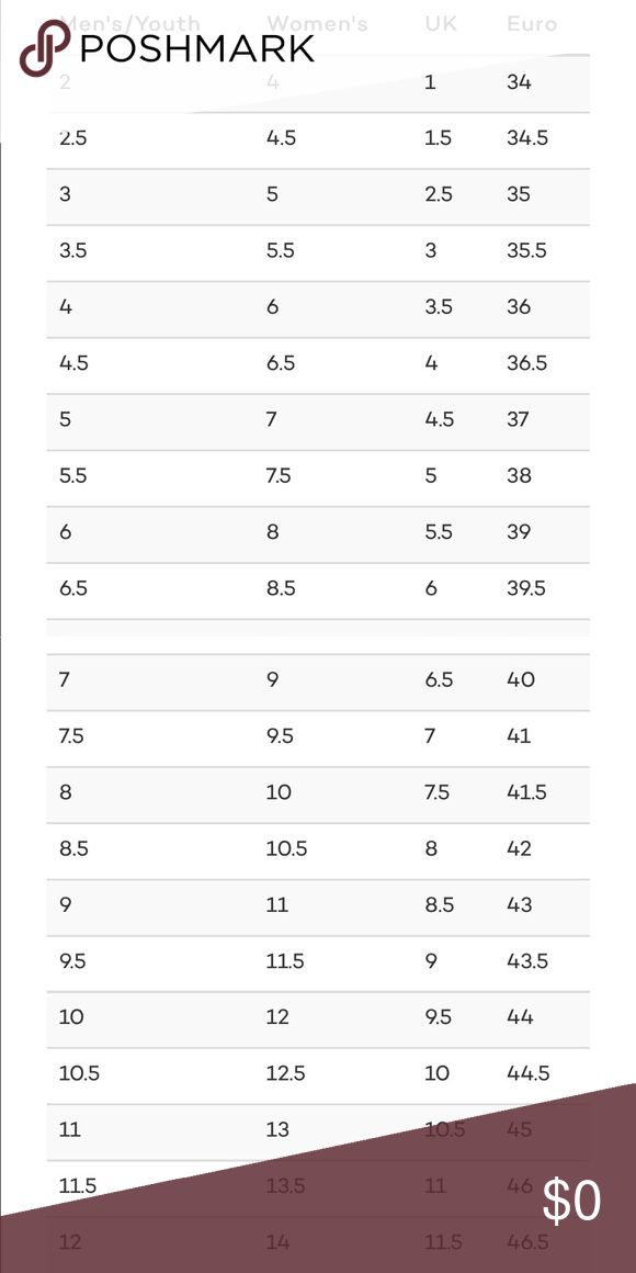 Shoe Size Chart for comparison 👟👞👡👠👢 Thank you for browsing!! Nike Shoes Athletic Shoes