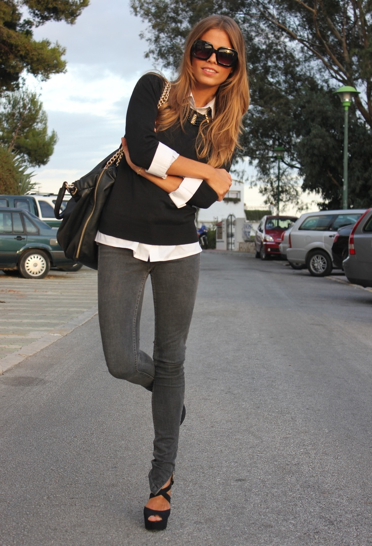 Casual Outfit, Casual Friday, Skinny Jeans, White Shirts, Black White, Jeans Outfit, Casual Looks, Work Outfit, Grey Jeans