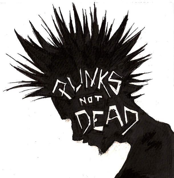 PUNKS NOT DEAD. #punk #punkrock #blackandwhite http://www.pinterest.com/TheHitman14/black-and-white/