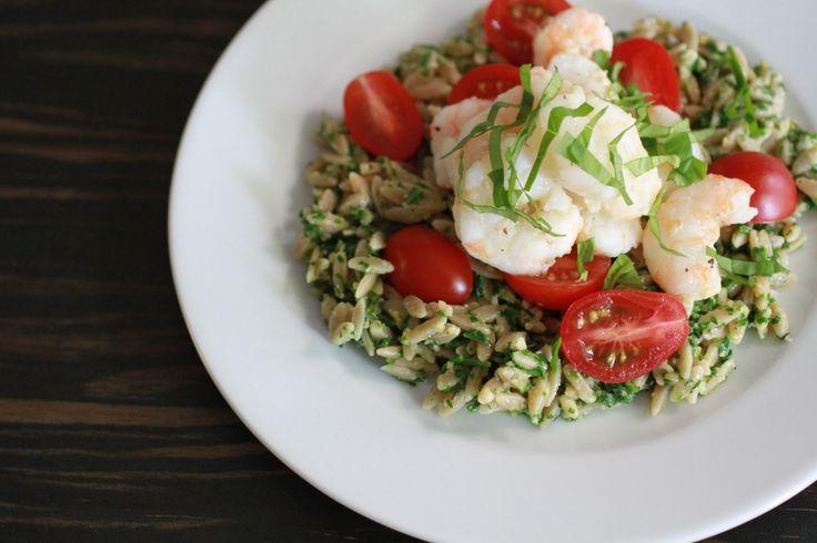 Whole Wheat Orzo with Arugula Pesto and Garlicky Shrimp | WeeklyGreens ...