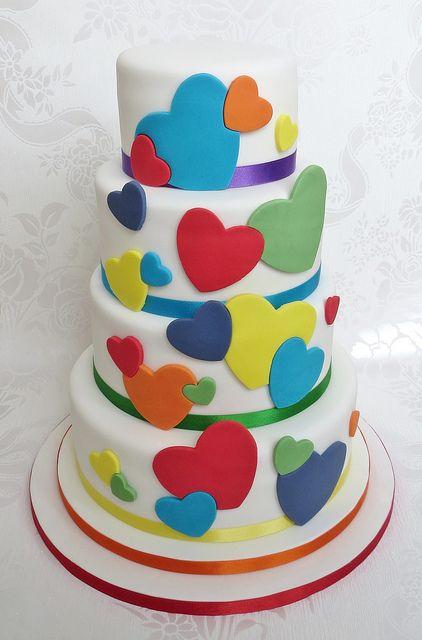 rainbow heart cake - fun, bright, colourful, wedding