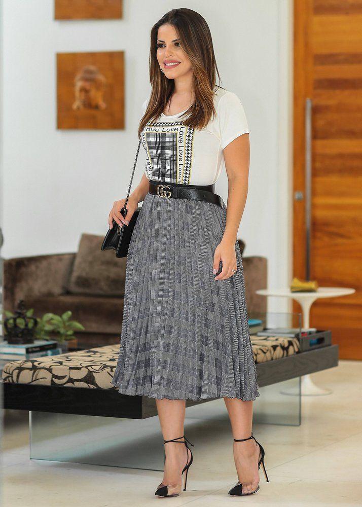 8f027bb2ebec Saia Plissada Xadrez | Vestidos Fassin Store em 2019 | Saia plissada ...