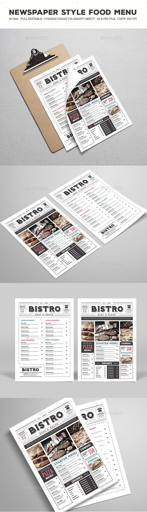 Newspaper Style Food Menu  — PSD Template #11.69x16.54 • Download ➝ https://graphicriver.net/item/newspaper-style-food-menu/18368690?ref=pxcr