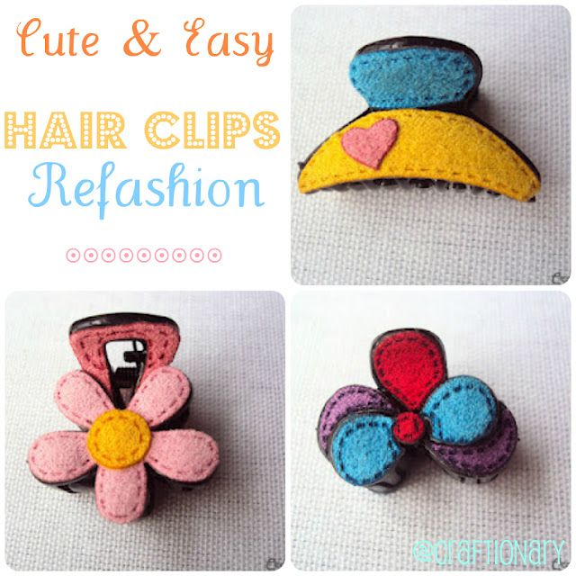 Turn your simple claw clips to chic and cute with felt...Girls are going to love these! #DIY #felt