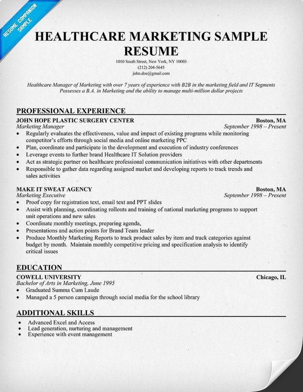 Healthcare Marketing Resume Sample (http\/\/resumecompanion - examples of marketing resumes