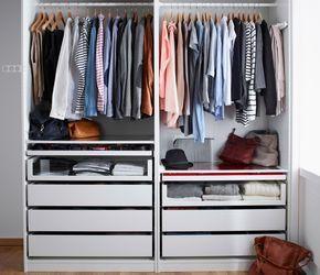Unique Offener PAX Kleiderschrank in Wei mit Kleiderstangen und Schubladen in vielen verschiedenen Tiefen und H hen