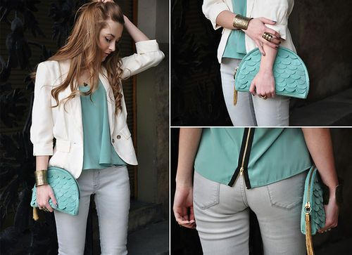Love the colour !: Autumn Outfits, Fashion Clothing, White Blazers, Pastel Outfits, Clutches, Than, White Jackets, Pastel Colors, Grey Jeans
