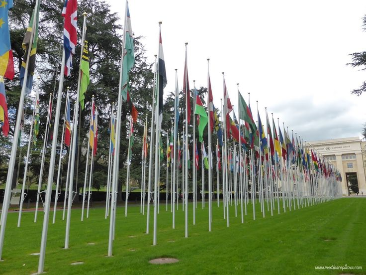 Palais des Nations and member flags, Geneva, Switzerland