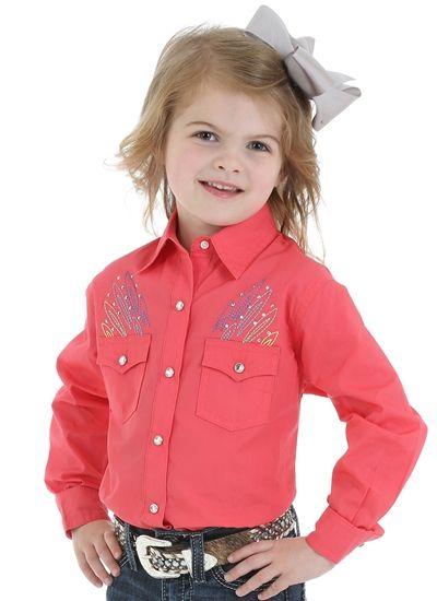 00c3e0a2f8e41 Wrangler Girl's Dark Pink Shirt GJ1311K | Kids Western Wear and Cowboy  Boots | Western shirts, Kids western wear, Shirts