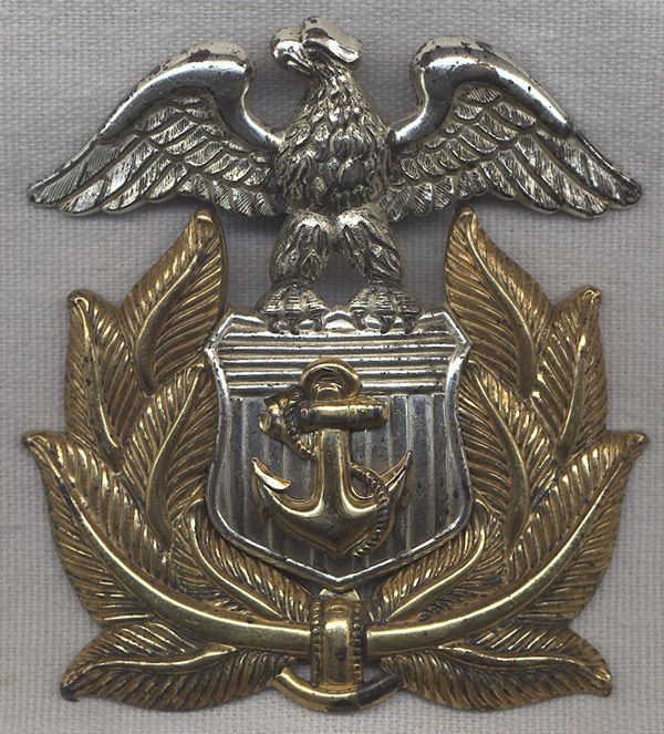 WWII Sterling Silver Merchant Marine Officer Cap Badge
