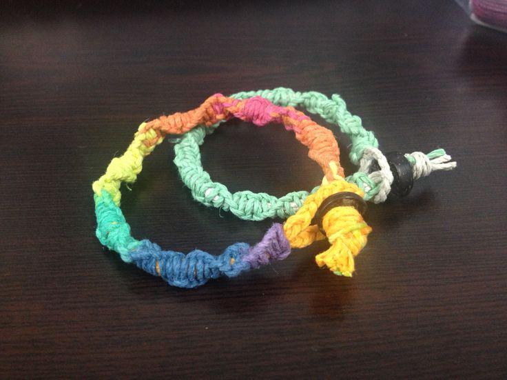 Macrame, hemp, rainbow
