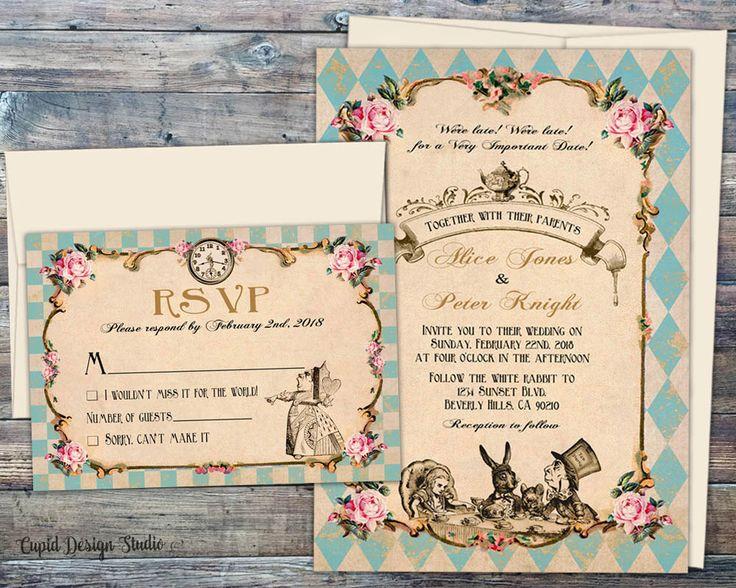 Fairytale Wedding Invitations Printed Wedding Invitation Set Handmade Alice  In Wonderland Invitations Mad Hatter Tea Wedding Invitations