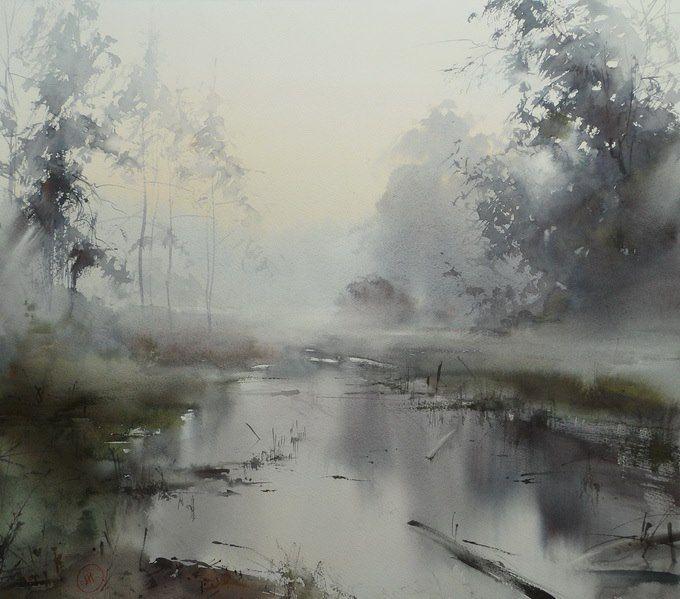 Ilya Ibryaev - MORNING IN THE FOREST - watercolor (54х48) cm #watercolor jd .