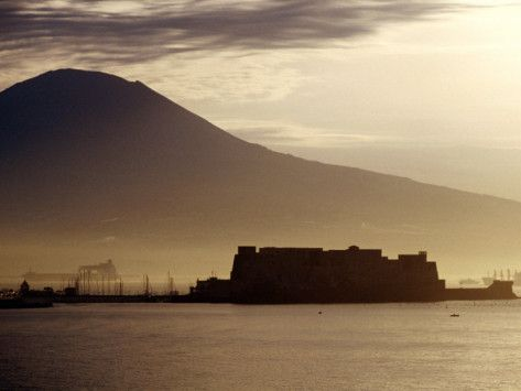 Castel Dell'Ovo and Vesuvius in Background, Naples, Italy Photographic Print by Jean-Bernard Carillet at AllPosters.com